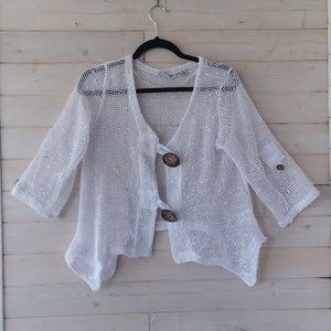 white NINA LEONARD half sleeve cardigan